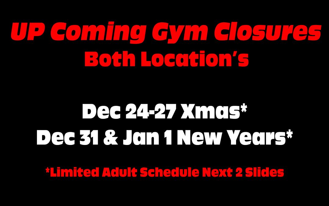 HOLIDAY Schedule Xmas & New Yrs